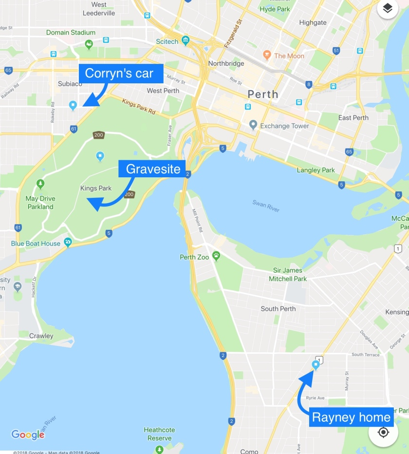 Copy of Google Map with labels for the Rayney home in Como, the gravesite in Kings Park, and Corryn's car in Kershaw Street